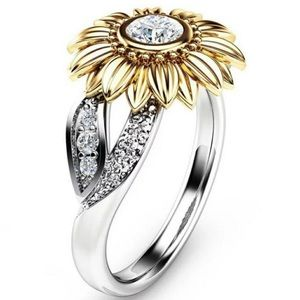 18K White & Gold Diamond Sunflower Ring